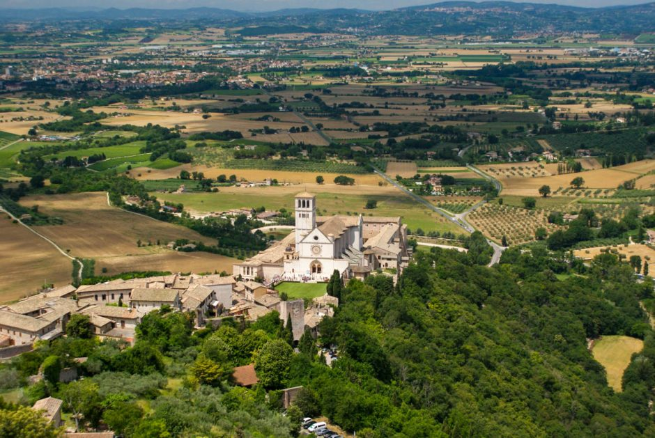 St. Francis Catherdral in Assisi from above