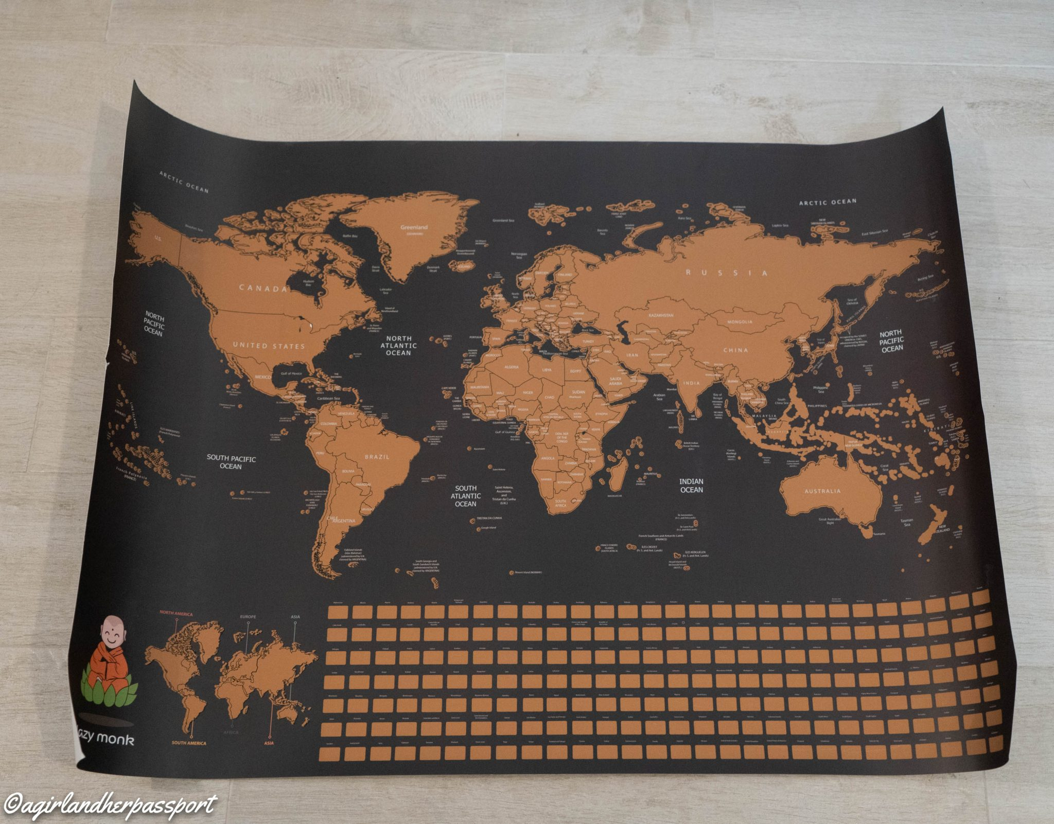 Lazy Monk World Scratch Off Map