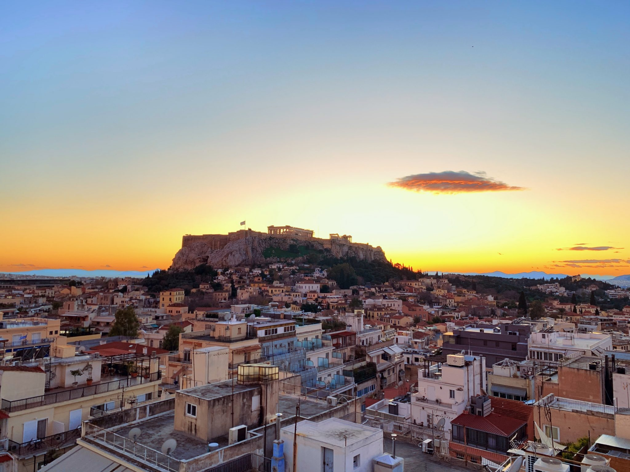 Acropolis from at distance at sunset