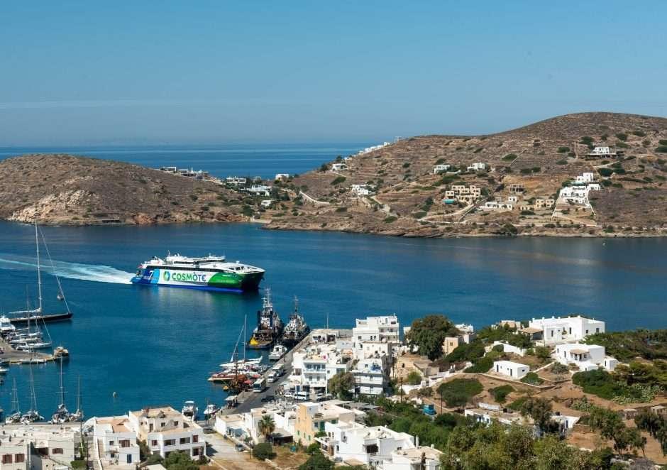 Ferry arriving in Ios, Greece