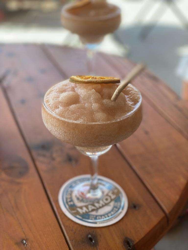 Frozen rakomelo cocktail at Allo in Ios, Greece